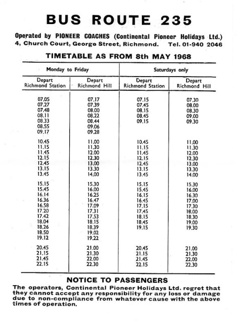 1968 timetable Continental Pioneer