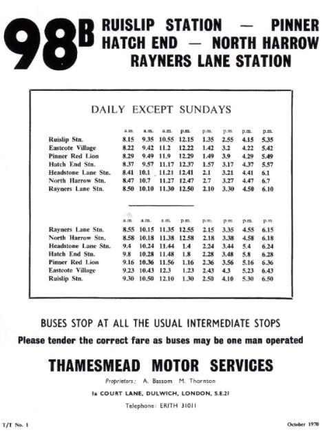 1970 timetable Thamesmead