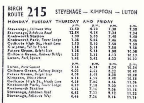 1956 timetable for the short-lived 215