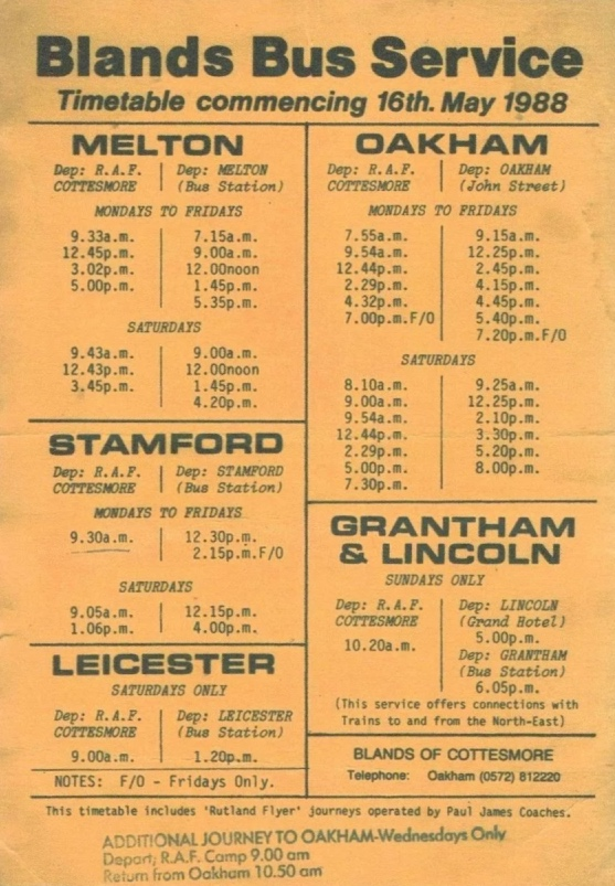 1988 timetable of services from RAF Cottesmore