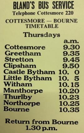 timetable for Bourne service on Thursdays