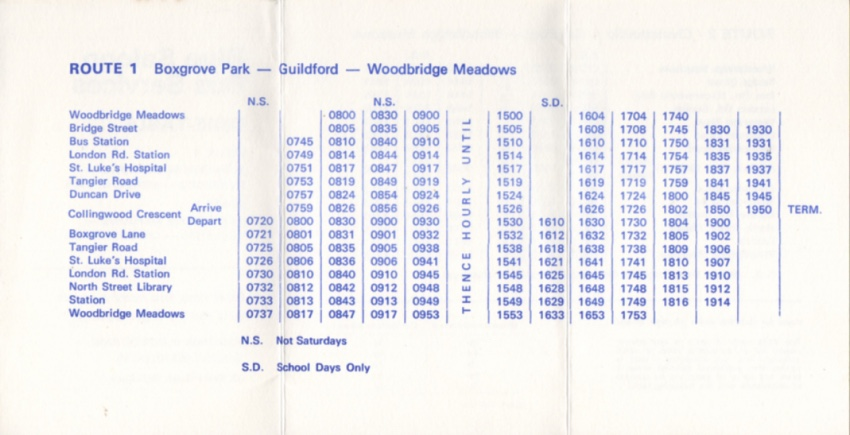 blue saloon route 1 timetable