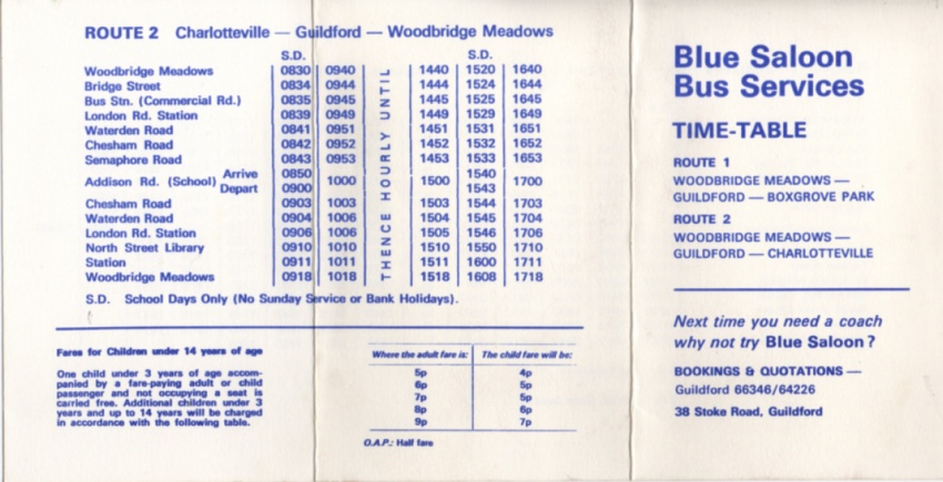 blue saloon route 2 timetable