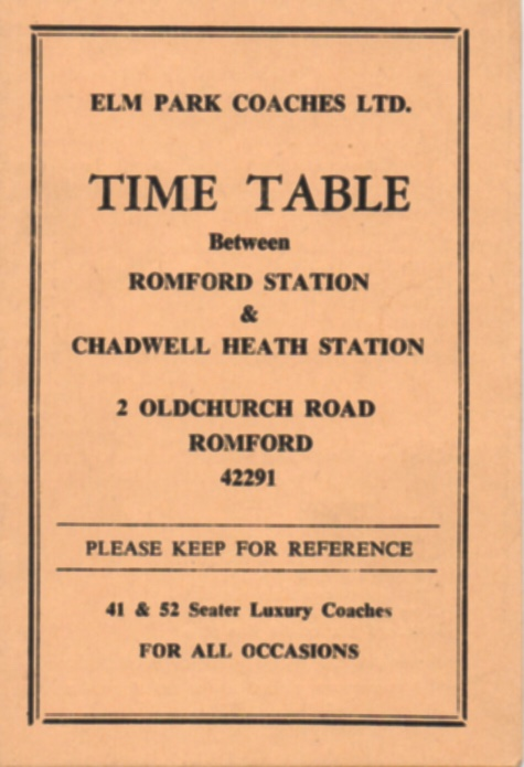 Cover of 1964 Elm Park Coaches timetable