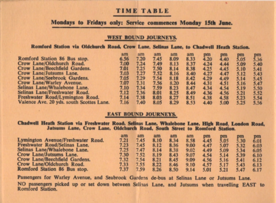 Elm Park Coaches timetable June 1964