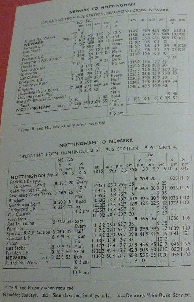 1948 timetable Gash Nottingham service