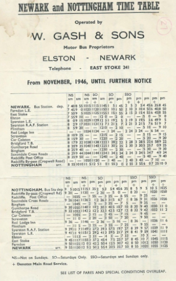 1946 timetable for Nottingham route