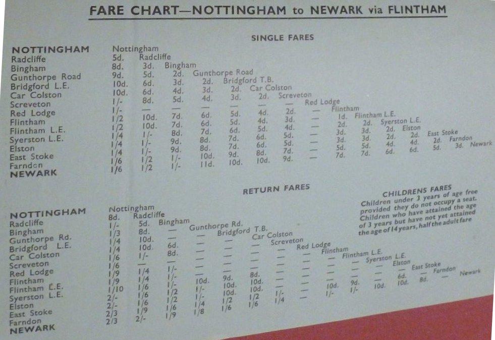1948 fares Gash Nottingham service