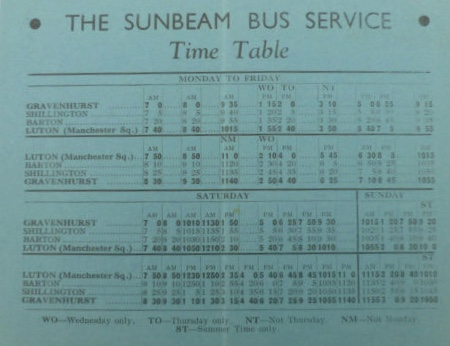 Sunbeam timetable 1934