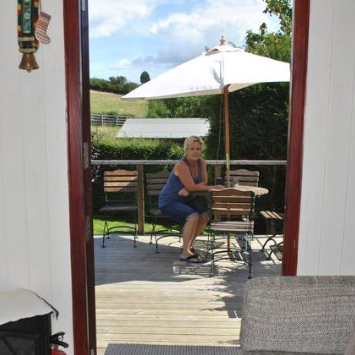 the decking area outside the shepherds hut